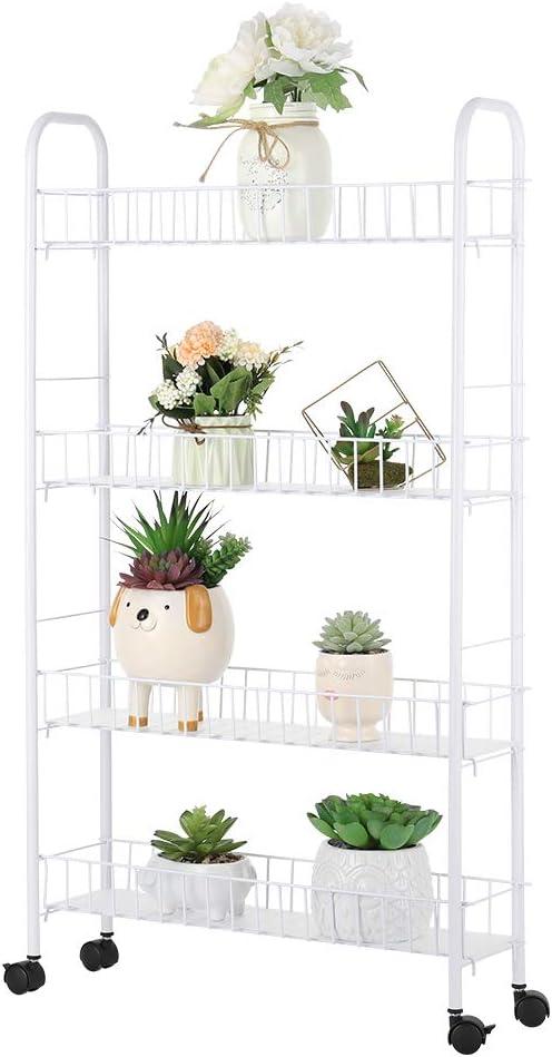 4 Tier Slim Slide Out Storage Rack, Kitchen Gap Shelf with Wheels Storage Basket for Bathroom Home Organizer Storage Shelf for Narrow Spaces, White
