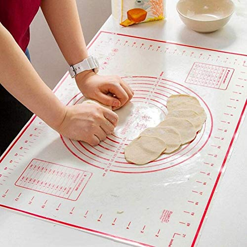 Best Quality - Rolling Pins & Pastry Boards - 60x40cm Foldable High Temperature Fiberglass Silicone Baking Dough Mat Rolling Cutting Fondant Cake Dough Mat With Scale - by ABYSTEPS - 1 PCs