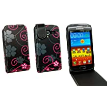 Kit Me Out CAN PU Leather Flip Case for Samsung Galaxy Ace 2 i8160 (NOT FOR ACE 2x) - Black / Pink Flowers