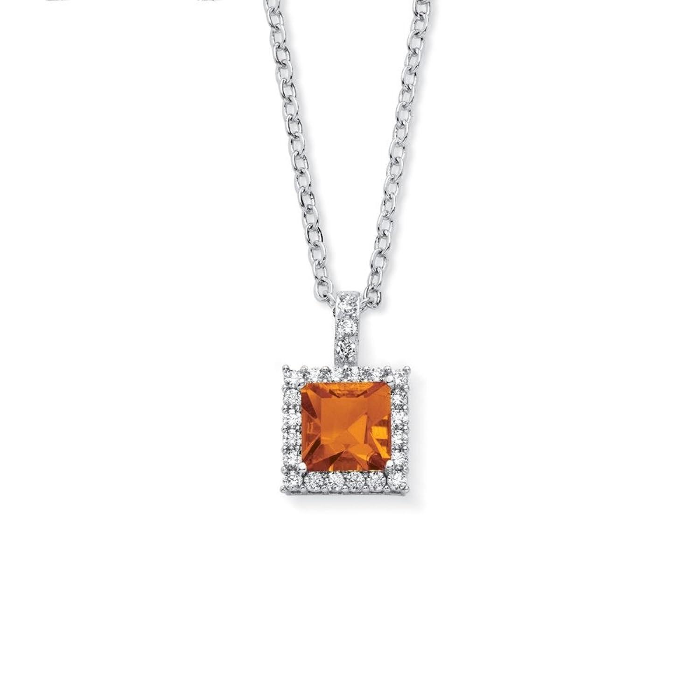 Fashion Pendant White Gold Fn Purple Amethyst Simulated Diamond With 18 Box Chain