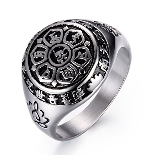 JAJAFOOK Mens Womens Lotus Sanskrit Mantra Engraved Band Rings, Stainless Steel Lucky Rings