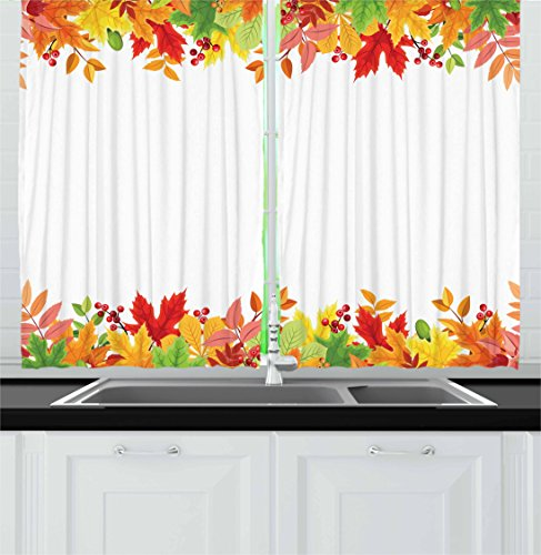Thanksgiving Kitchen Curtains by Lunarable, Horizontal Frame with Colorful Fall Season Leaves Rowan Borders Foliage Nature, Window Drapes 2 Panel Set for Kitchen Cafe, 55 W X 39 L Inches, Multicolor