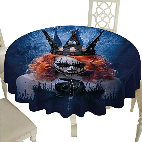 Queen Flow Spillproof Fabric Tablecloth Queen of Death Scary Body Art Halloween Evil Face Bizarre Make Up Zombie Waterproof/Oil-Proof/Spill-Proof Tabletop Protector D50 Navy Blue Orange Black -