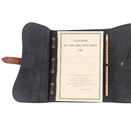 Leather Writing Journal Notebook Black Brown Refillable Unlined Pages by Col. Littleton (Image #4)