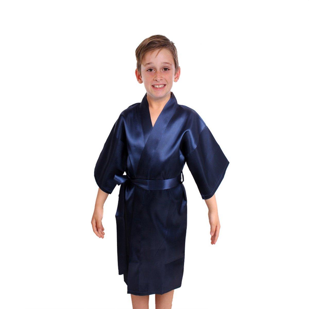 Kids Satin Rayon Kimono Robe Bathrobe Nightgown For Spa Party Wedding Birthday (8, Deep Blue)
