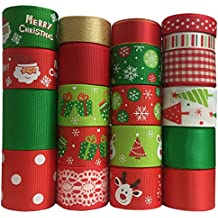 Duoqu Christmas Ribbon 20 Yards Mixed Style/Size ( 20X1yd ) for Holiday Hair Bows Gift Wrapping (Christmas Ribbon With 20 Styles)