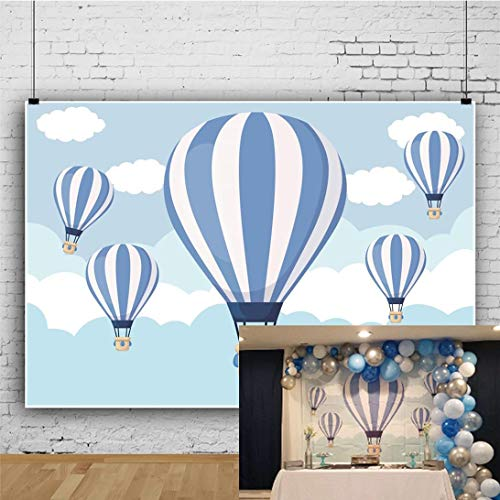 OFILA Hot Air Balloon Backdrop 7x5ft Baby Shower Photography Background Kids Birthday Party Decoration Boys Baby Shower Party Shoots Family Events Video Studio Props