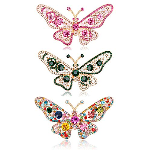 Colorful Crystal Butterfly Shape Filigree Brooch Pin Gold Plated (3 Pack) ()