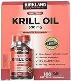 Kirkland Signature Krill Oil 500 mg 160 Softgels (2 Pack)