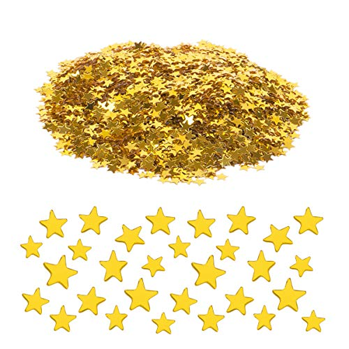 Haley Party Star Glitter Confetti Gold Confetti Yellow Confetti Stars for Crafts DIY Nail Art Birthday Wedding Party Decoration Confetti Poppers (0.2in/6mm, Gold Color, 1oz) ()