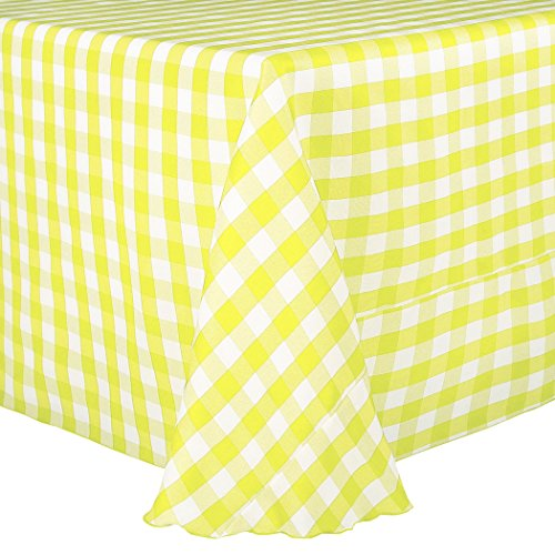 Ultimate Textile (10 Pack) 84 x 84-Inch Square Polyester Gingham Checkered Tablecloth - for Picnic, Outdoor or Indoor Party use, Lemon and White by Ultimate Textile