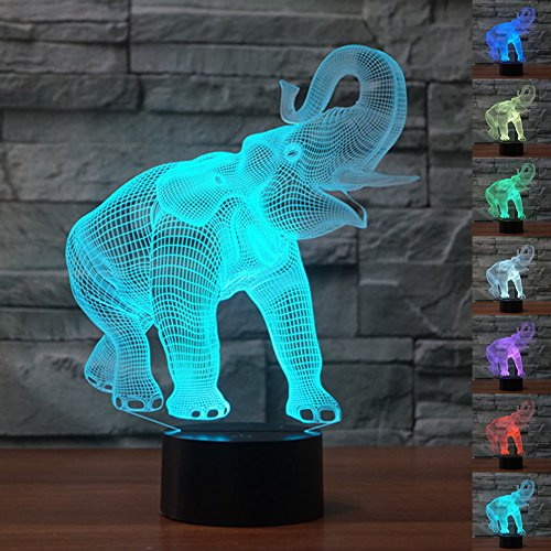 NChance Christmas Gift Magic Elephant Lamp 3D Illusion 7 Colours Touch Switch USB Insert LED Light Birthday Present and Party Decoration (Christmas Ideas Gift $25)