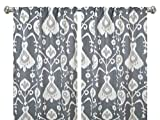 Pair of rod curtains 50'' wide panels java ikat pewter gray ivory floral window treatment nursery cotton drapes 84 96 108