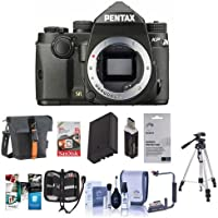 Pentax KP 24MP Compact TTL Autofocus DSLR Camera Black - Bundle with 64GB SDXC Card, Holster Case, Spare Battery, Tripod, Flip Flash Bracket, Cleaning Kit, Card Reader, Software Package and More