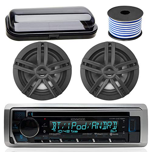 Kenwood Bluetooth CD Radio Receiver In-Dash Marine Boat Audio Bundle with Pair of Enrock 6.5