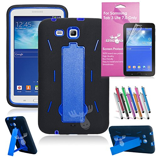 EpicGadget Heavy Duty Rugged Hybrid Case with Build in i Kickstand Bundle with Screen Protector and Stylus Pen for Samsung Galaxy Tab 3 Lite 7.0-Inch SM-T110 / SM-T111 - Black and Blue