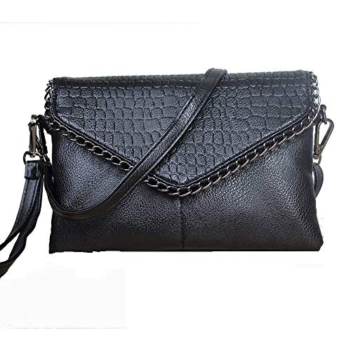Vnlig Moda de Comercio Exterior Nueva versión Coreana de The Chain Shoulder Slung Small Square Bag (Color : Negro)