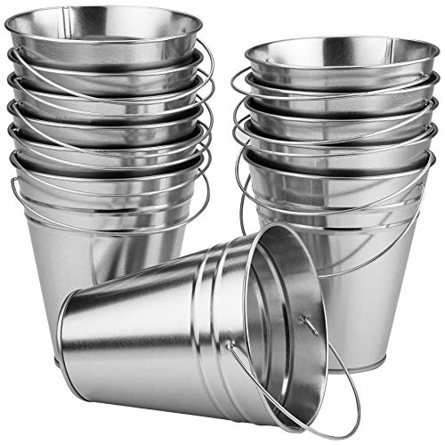 Cheap Kicko Large Galvanized Metal Buckets Bulk - 12 Pack - with Handle 5 X 4.5 Inches - Unique Good...