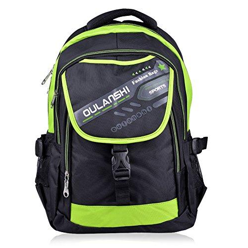 Vbiger wasserdichter Schulrucksack Laptoprucksäcke Daypack Kinderrucksack mit der Großen Kapazität (Grün+)