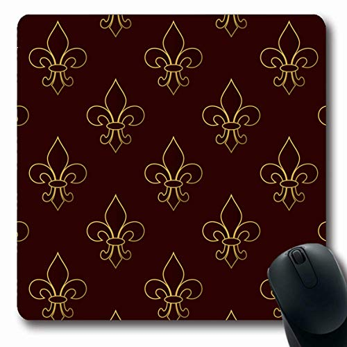 Ahawoso Mousepads for Computers Celebration Brown Badge Mardi Gras Carnival Fleurdelis Golden Holidays Celebrate Costume Day Emblem Oblong Shape 7.9 x 9.5 Inches Non-Slip Oblong Gaming Mouse Pad]()