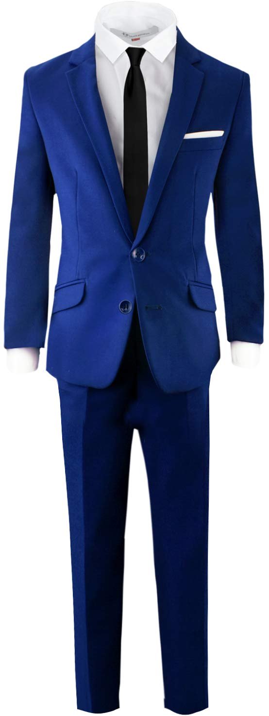 Black n Bianco Signature Boys' Slim Fit Suit Complete Outfit (10, Blue)