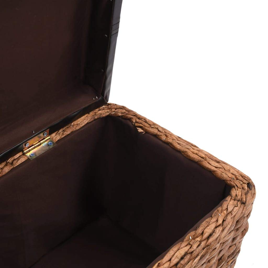 vidaXL Banc Jacinthe deau Tissu Gris Ottomane de Rangement Banquette Stockage