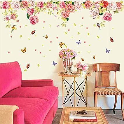 Amazon.com: YUFENG PVC Decal & Newsee Decals DIY Flower Wall Art ...