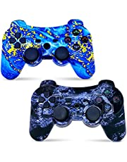 CHENGDAO PS3 Controller Wireless 2 Pack,Double Vibration Compatible with Playstation 3 with Charging Cord (PS3 Controller 2Pack,Blue + Violet)