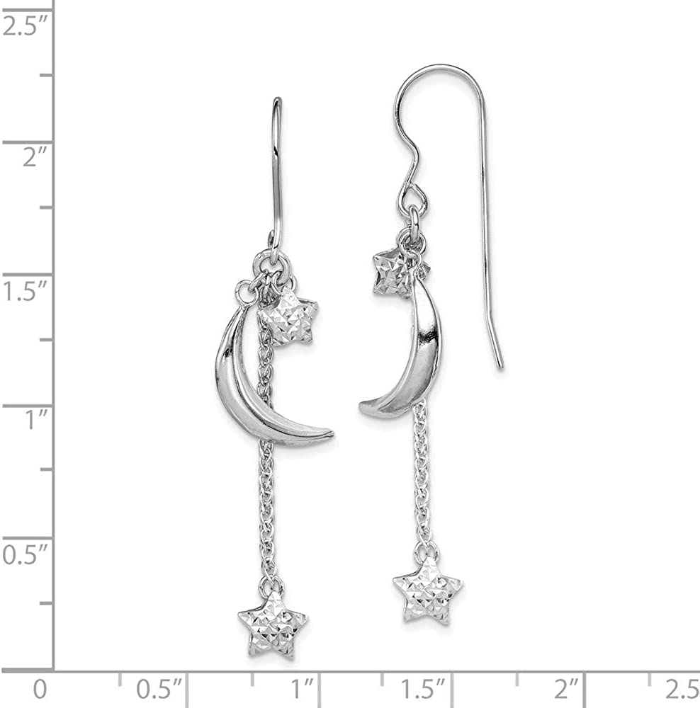 Sterling Silver Rhodium Plated D//C Puff Stars and Moons Earrings