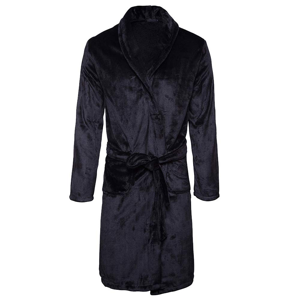 OGOUGUAN Karl Aiken Thick Coral Velvet Robe Bathrobes (Black, Medium)