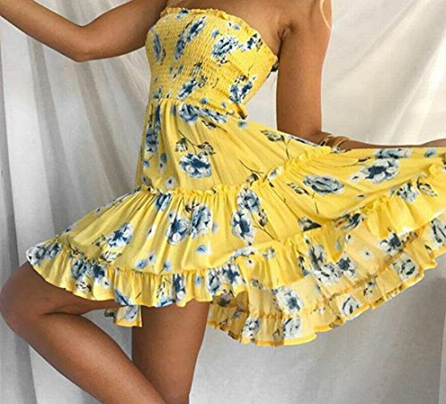 Dress Pleated Beach Women's Domple Strapless Floral Yellow Swing Boho Party RqH86UfFH