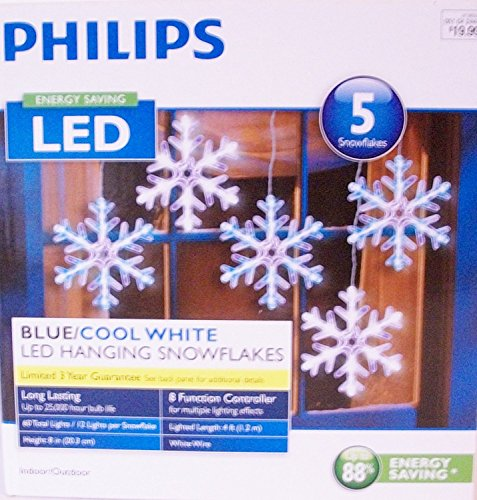 Wondershop by Philips  5 Count LED  Blue/Cool White Color Changing Multi-Function Snowflake String Lights -