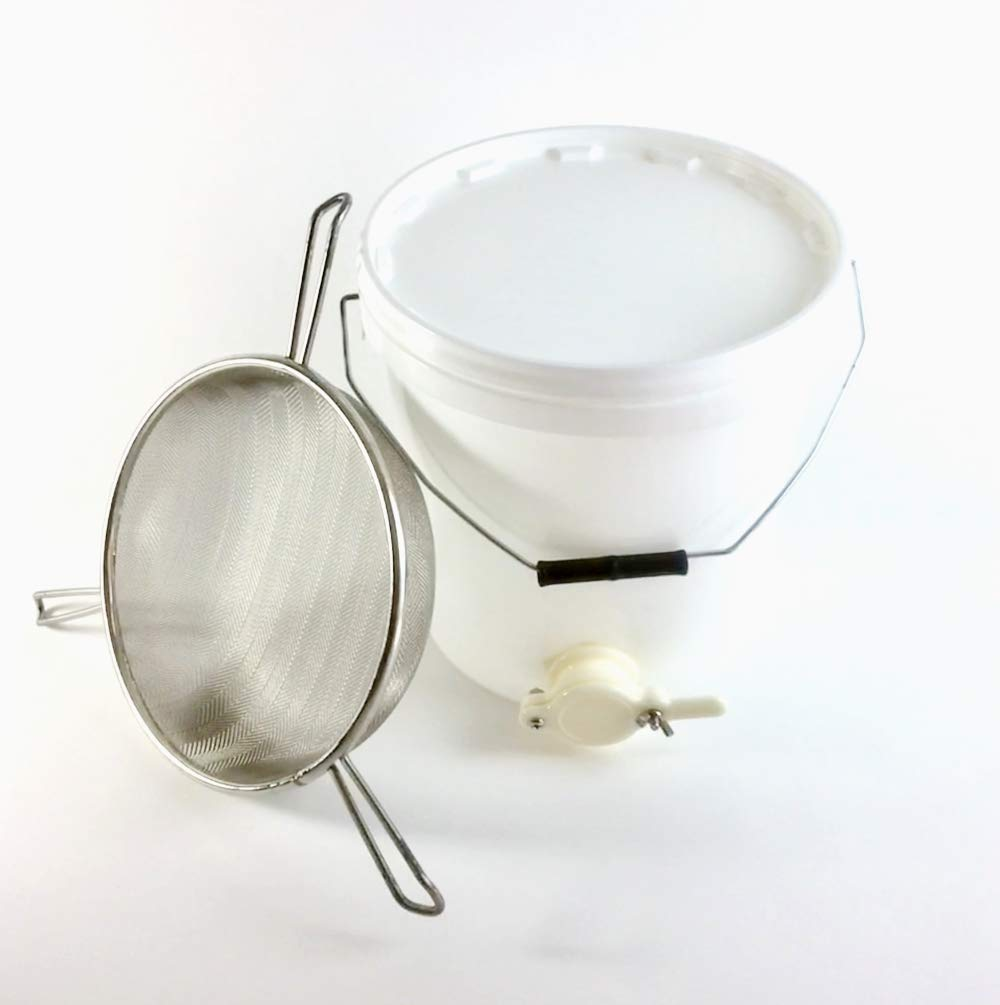 Beekeeping 20L Settling Tank with Valve & Tri-Handled Honey Strainer Simon The Beekeeper