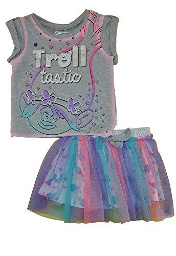Toddler Girls' Trolls Shirt and Skirt Set -Poppy, Heather Grey (4T) ()