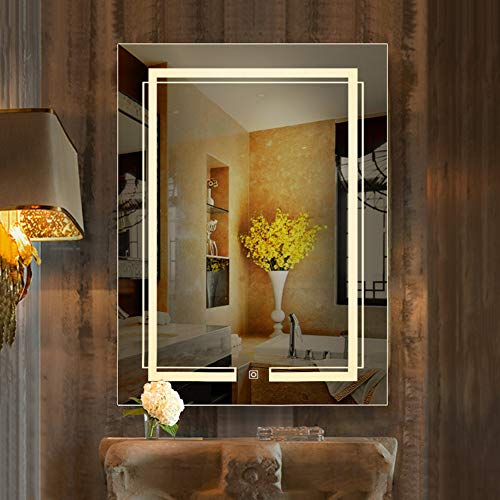 - RXBFD Makeup Mirrors Wall Mounted LED Lighted Bathroom Mirror, Silver Frameless Vanity Mirror with Touch Switch (White Light/Warm Light),IP54 Waterproof Make-Up Mirror(Vertical/Horizontal)