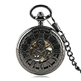 Steampunk Hollow Gear Black Steel Mechanical Pocket Watch Fob Chain Cool Gifts