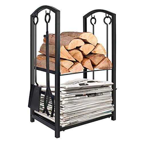 WBHome Firewood Rack with 4 Tools - Iron Fire Log Holder Storage Set Includes Brush, Shovel, Poker, and Tongs, 17 x 29 x 12 inches, for Indoor/Outdoor (Fireplace Equipment)