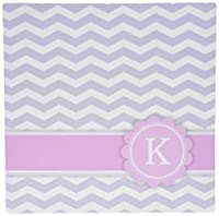 3dRose LLC 8 x 8 x 0.25 Inches Mouse Pad, Letter K Monogrammed On Grey And White Chevron with Pink - Gray Zigzags - Personal Initial Zig Zags (mp_154256_1)