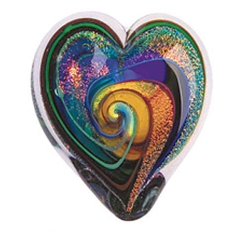 Glass Eye Studio Hand Blown Hearts of Fire Golden Rainbow Glass Paperweight