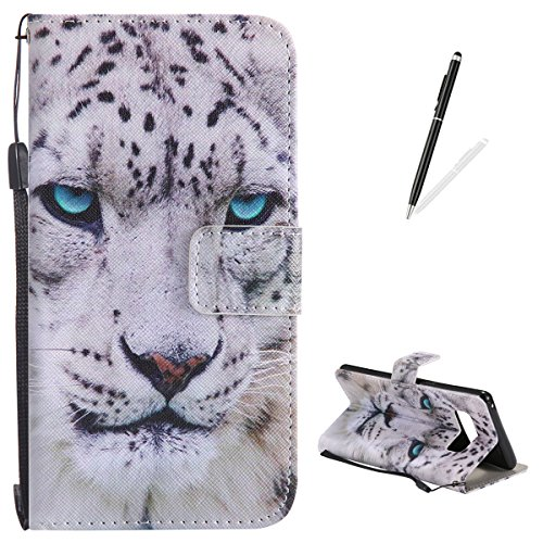 - Samsung Galaxy Note 8 Flip Leather Case KaseHom [Free Black Stylus Pen], Folio Magnetic Cartoon Pattern Premium PU Wallet Cover with Card Slots Kickstand Protective Holster White Leopard