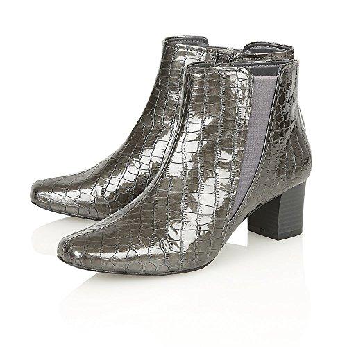 Lotus damascato, stampa coccodrillo, colore: Grigio lucido sbandato-Stivali alla caviglia