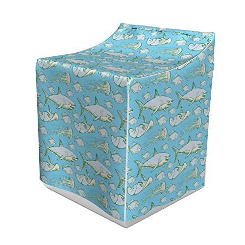 Ambesonne Shark Washer Cover, Sea Creatures in Vintage Style Swimming Flatfish Stingray and Jellyfish, Waterproof Dustproof Decorative Fabric, 29