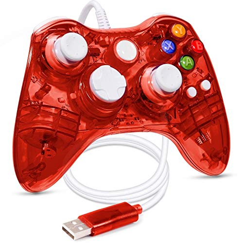 Xbox 360 Wired Controller, USB Wired Xbox 360 Controller Gamepad Joystick Consoles, With Dual-Motor Vibration Turbo, Suitable For Xbox 360,Xbox 360 Slim,PC Windows XP/Vista/Win7/Win8/Win8.1/Win10 ()