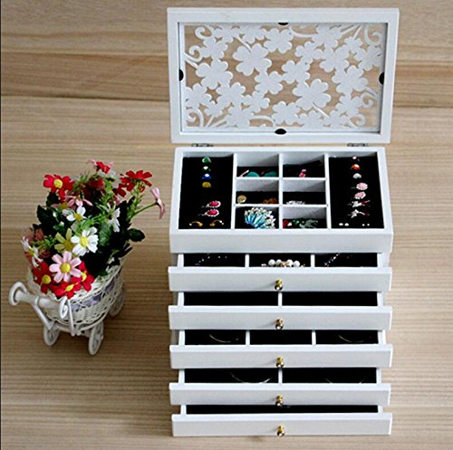 HUKOER Wood Makeup Organizer Jewelry Box Retro Large Cosmetic Organizer Multilayer Marriage Holiday Gift Storage Box 12.5810inch (White)