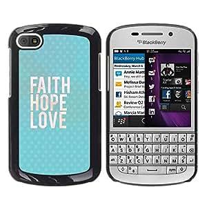 FECELL CITY // Duro Aluminio Pegatina PC Caso decorativo Funda Carcasa de Protección para BlackBerry Q10 // Happy Love God Blue Text