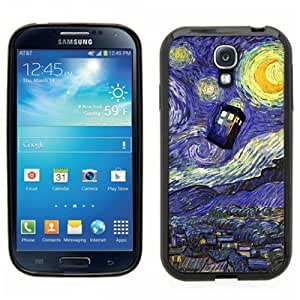 Samsung Galaxy S4 SIIII Black Rubber Silicone Case - Dr Who Tardis Starry Night Painting Phone Booth Call Box Blue
