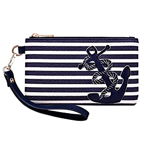 PU Leather Anchor Purse, 8.5″x5.0″ Wristlet Bag Zip Coin Pouch for Smart Phones Keys