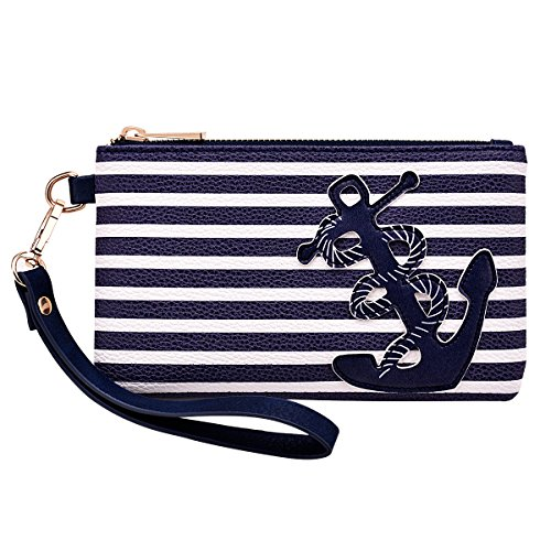 Soft PU Leather Pouch with Anchor Mark on Navy Blue Stripes, 8