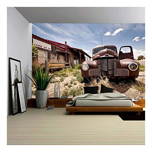 wall26 - Abandoned Restaraunt on Route 66 Road in USA - Removable Wall Mural | Self-Adhesive Large Wallpaper - 66x96 inches
