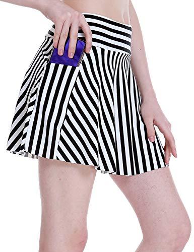 ChinFun Women's Tummy Control Swim Skirt Bikini Tankini Bottom Swimsuit Beach Swimdress Waistband Pocket Skort White Black Stripes M
